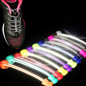 Wholesale Reflective Elastic Shoe Laces Lock System Sports Sneakers No Tie Shoelaces For Running Trainer Safety Reflection At Night