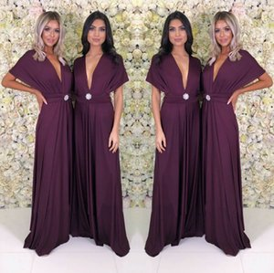 Dark Purple Long Women Party Dress 2019 Cheap Summer Boho Cap Short Sleeve Deep V Neck Long Bridesmaids Evening Party Gowns yl57-2103