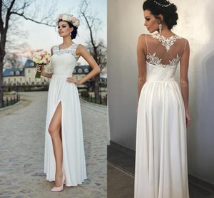 Wholesale Modest Country Wedding Dresses Sheer Neck Applique Hollow Back Applique Chiffon 2019 in Vestido De Novia Wedding Dress Bridal Gowns Cheap