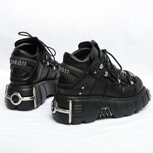 ingrosso scarpe creepers-RasmeUp Punk Style Style Sneakers Sneakers Lace up cm Piattaforma Scarpe Donna Creepers Femminile Casual Flats Decor in metallo Tenis feminino