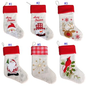 Wholesale 20 inch Linen cloth embroidery Christmas stocking gift bags canvas Christmas Xmas stocking Plain Burlap decorative socks bag MMA2504