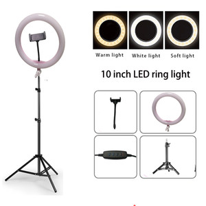 Wholesale 10 quot Dimmable LED Studio Camera Ring Light Photo Mobile Phone Video Annular Lamp cm Tripod USB Charging