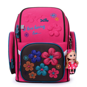 Delune Children Cartoon 3D Bear Flower Racing Car Pattern Girls Boys School Bags Waterproof Foldable Orthopedic School Backpacks