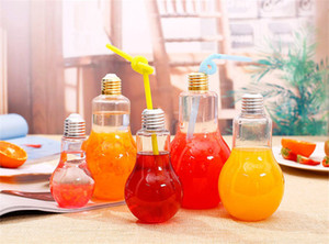 Wholesale 200ml light bulb beverage bottle milk tea bottle plastic juice bottle creative yogurt cup with straw cup Drinkware tools