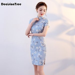 Wholesale 2019 traditional chinese qipao dress chinese dress modern cheongsam wedding cotton linen vestido