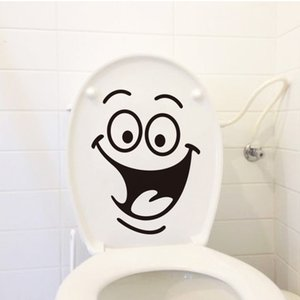 Wholesale 2019 Newest DIY Home Decor Removable Smile Face Funny Bathroom Toilet Seat Art Wall