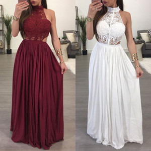 Wholesale 2019 Hot Women Ladies Maxi Summer Long Evening Party Dress Beach Dress Sundress White Wine Red Clothes Size S XL
