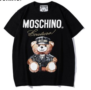 2019 New Summer brand MO men Tee black mosc cotton Bear pattern letter print short sleeve O-neck T-shirt women t shirt wear casual tee S-XXL