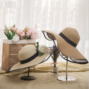 Wholesale Summer Straw Hast for Women Beach Hat Wide brim Fashion Bow Visor Hat Lady Round top Sun UV Protection Travel Caps Black