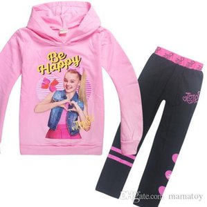 Wholesale Jojo Siwa Girls Sets Pure Cotton Long Sleeved Clothing Sets 4 Styles Long Sleeved Cotton Hoodie Pants 2PCS