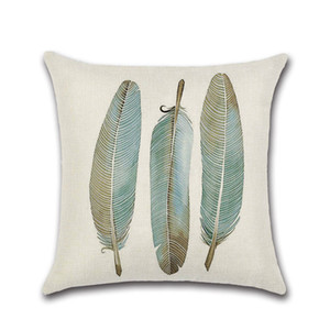 Wholesale Hot Sale Printed Cushion Cover cm Cotton Linen Throw Pillow Case Cute Cartoon Feather Print Home Decor Sofa Bed