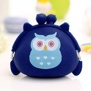 Cute Cartoon Owl Silicone Jelly Change Bag Keys Pouch Coin Purses Women Purse For Children's Wallet Kids Wallets