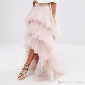 Wholesale Gorgeous Light Pink Tulle Skirt Layered Tiered Women Tutu Skirts Cheap Formal Cocktail Party Gowns High Low Long Skirts Custom Made