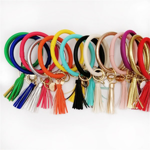 Wholesale Tassel Charms Leather Wristbands Pu Key Ring Wafer Bracelets Drip Oil Pendant Bangles Fashion Hot Selling With Various Style bya J1