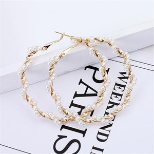 Wholesale Simple Gold color Big Hoop Earring For Women Statement Fashion Vintage Jewelry Accessories Large Circle Round Pearl Earrings New