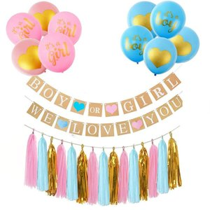 Wholesale Gender Reveal Party Decoration Inch Gender Latex Balloons Gold Pink Blue Tassels Boy Or Girl We Love You Banner Set ymE1