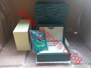Wholesale cards gifts for sale - Group buy Top Luxury Watch Green Box Papers Gift Watches Boxes Leather bag Card KG For Rolex Watch Box