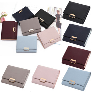 Wholesale Solid Cute Wallet Women Coin Bag Case Leather Simple Bifold Small Handbag Purse