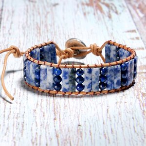 Wholesale MOON GIRL Lapis Lazuli Single Leather Wrap Bracelets Square Shape Natural Stone Vintage Weaving Beads Cuff Bracelet Dropshipping
