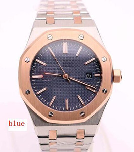 Wholesale 41MM Automatic Two Tone Stainless Steel Bracelet Outdoor Refined Mens Watch Watches A5013 Transparent Back Blue Dial With Gold Bezel