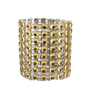 Wholesale 10 Bling Diamond Rhinestone Mesh Wrap Napkin Ring Wedding Decor Gold Decoration of celebrations and events wedding