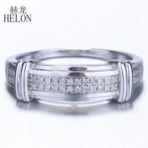 HELON 925 Sterling Silver Ring 100% Genuine Natural Diamond Ring For Men's Engagement Anniversary Party Gift Trendy Fine Jewelry on Sale