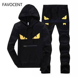 Mens Set 2PC Spring Autumn Sportswear Casual Tracksuit Male 2019 Sweatshirt Hoodies+Pans Suit Moleton Masculino