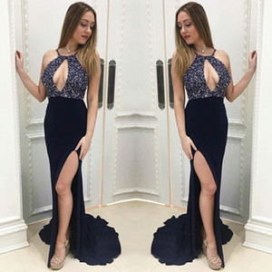 affordable Navy Blue Mermaid Slim Evening Gowns Keyhole Neckline Top Beaded Sequins Side Split cutout prom dresses halter backless Cheap on Sale
