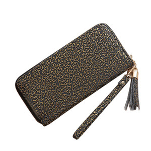 Aelicy women small clutch leather long purse female wrist strap zipper wallet Chinese wind texture handbag phone coin money bags