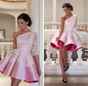 Wholesale New Design One Shoulder Pink Short Cocktail Dress Elegant Lace Ball Gown Party Gown Sexy Knee Length Robe De Soiree Homecoming Dresses M568