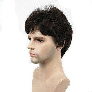 Mens Wigs Short Straight Hair Dark Brown Natural Synthetic Full Wig