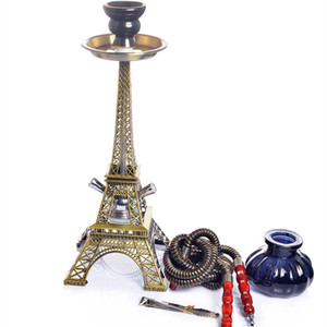 Wholesale New Style Eiffel Tower shisha hookah complete set glass hookah shisha with Two hose smoking accessories