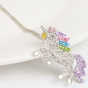 Wholesale SONGLONG unicorn necklace For Women Baby Gifts Unicorn Animal Crystal Necklace Girls Rainbow Necklaces amp Pendants pendant female