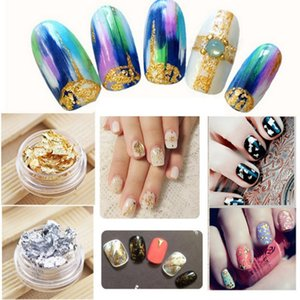 Wholesale NEW Jars Nail Art Loose Glitter Flake Sparkles Nail Art Stickers DIY Metallic Gold Leaf Silver Foil Box