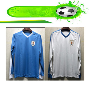 Wholesale Uruguay national team away Long Sleeve Blue White Soccer Jersey