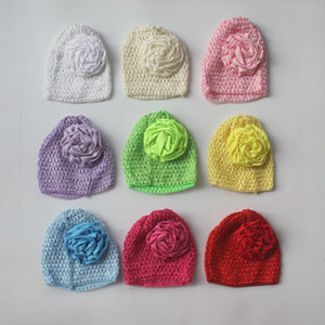 Wholesale accessories crochet for sale - Group buy 30pcs Elastic Crochet Hat With quot Satin Ruched Rolled Rosette Flowers For Bby Girls Hair Accessories Crochet Flower Hat