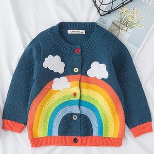 Wholesale New Spring Fall Baby Girls Rainbow Clouds Sweater Kids Clothing Knitting Cardigan Long Sleeve Children Tops Jackets T200306