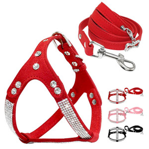 Wholesale harnesses for dogs resale online - Soft Suede Leather Dog Harness and Leash Set Rhinestone Puppy Vest with Crystal Bone Pendant for Small Medium Pets Chihuahua
