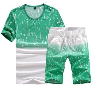 Wholesale ASALI Men Set 2019 New Summer Men Tracksuit Short-Sleeved T Shirt Shorts Sets Casual Male sweatshirt Camouflage Sportswear Suit