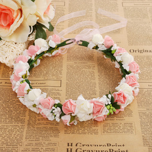 Wholesale Wedding Rose Flower Crown Artificial PE Flower Wreaths Bride Hairband Festival Travel Beach Hair Accessory White Floral Garland