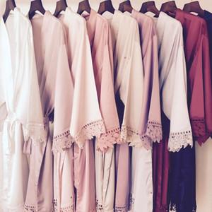 New Design 8 Color Bridemaid Medium Sleeve Lace Night Robe Knee Length Bride Wedding Dresses Front Open Sleepwear Bathrobe