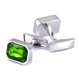 KFLK Jewelry shirt wedding cufflinks for mens Green Crystal fashion Cuff link Wholesale Buttons High Quality Free Shipping