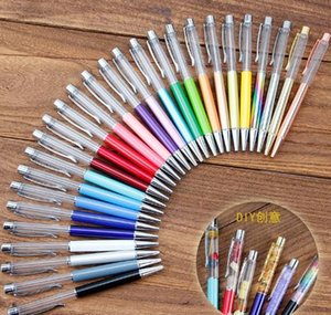 Wholesale Creative DIY Blank Ballpoint Pen Student Glitter writing pens Colorful Crystal Ball pens custom logo ayq