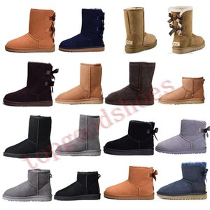 Wholesale Australia Boots Women Classic Snow Boots Ankle Short Bow Fur Booties For Winter Black Chestnut Fashion Woman Shoes Size