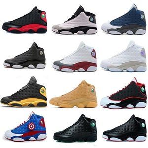 Wholesale New s Basketball Shoes air Men Women Pink white black grey teal Cap And Gown Captain America Chicago flints j13 retro Sneakers