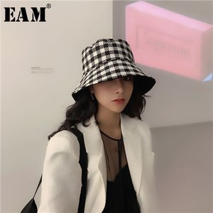 Wholesale EAM Women Black Plaid Double Side Wear Fishermen Hat New Round Dome Temperament Fashion All match Spring Autumn H280