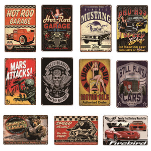 Tin Sign Car Motorcycle Cafe Coffee Dog Cat Motor oil Beer Egg Vintage Metal Signs Home Decor Cafe Bar Plaque Pub Decorative Metal Wall Art