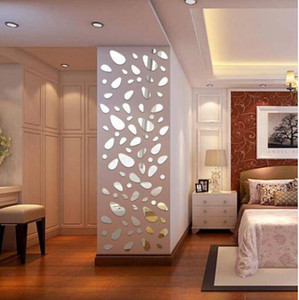 Free shipping Wholesales 12Pcs Silver DIY Pebble Shape Mirror Wall Stickers Home Wall Bedroom Decor on Sale