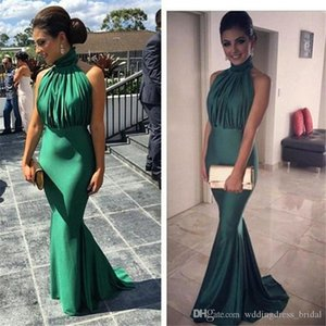 Wholesale High Neck Emerald Green Mermaid Prom Dresses Sexy Off Shoulders Ruched Sweep Train Cheap Long Evening Dress Elegant Vestido De Festa