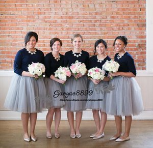Wholesale 2019 Cheap Maid of Honor Dress A Line jewel neck Long Sleeve tulle skirts Ruffles knee length Bridesmaid Dresses Custom Made plus size